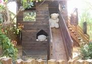 בית עץ ומגלשה לילדים