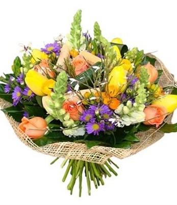 זר פרחים שמח בלב